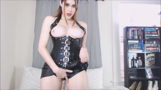 Strapon JOI Tease - Copy My Stroke  strap on brown hair strapon tease femdom goddess sexy hot leather kink domme red lips joi mistress corset worship