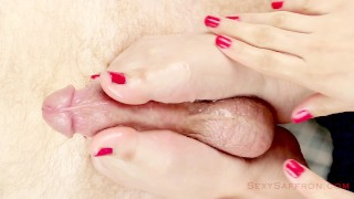 Preview 4 of Close-Up: Sensual Handjob & Footjob