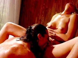 Latina beauty Bridget B riding hard cock in the shower