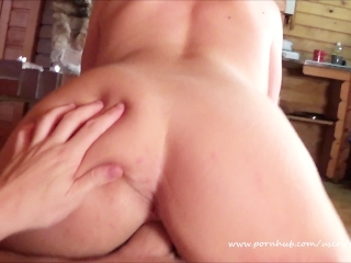 Hot Passionate Amateur Sex Scene. Pov Reverse Cowgirl by the Fireplace.