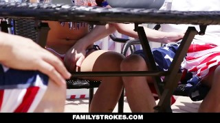 FamilyStrokes - 4th Of July BBQ Turns Into Sibling Fuckfest  kristen lee step-siblings babe step-brother cumshot hardcore smalltits brunette cowgirl familystrokes step-sister shaved facialize bigcock facial doggystyle
