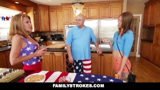 FamilyStrokes - 4th Of July BBQ Turns Into Step Sibling Fuckfest Cumshot messy
