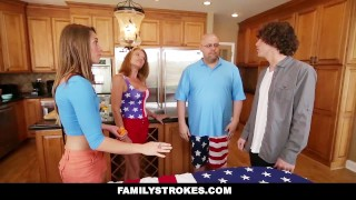 FamilyStrokes - 4th Of July BBQ Turns Into Step Sibling Fuckfest Stroking cock