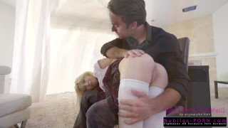 Step Brother and little Step sister share tiny teen in threesome Handcuffs deepthroat