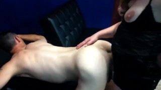 she sucks him and owns his ass  strap on anal milf pegging guy femdom pegging pegging his ass blow job hard anal hard anal pounding femdom strapon dildo amateur