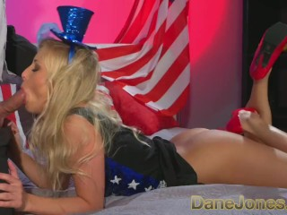 DaneJones young blonde celebrates freedom to fuck with Abe Lincoln