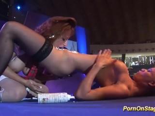 wild lesbian pornshow on stage