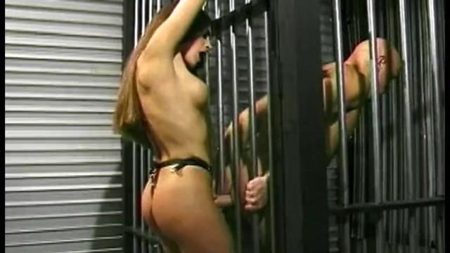 Slutty brunette playgirl gets to fuck her kinky prisoner hard