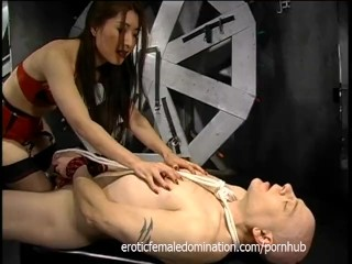 Delicious Asian minx makes this horny tied-up stallion very happy