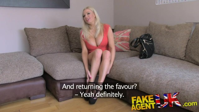 FakeAgentUK Understudy joins in Threesome with busty blonde UK porn legend