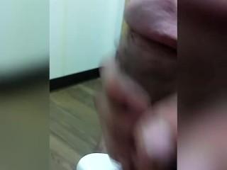 Caught jerking big cock