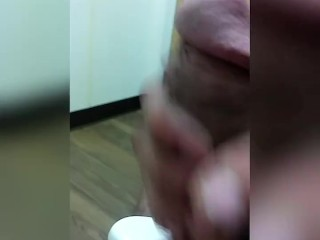 Caught jerking big cock