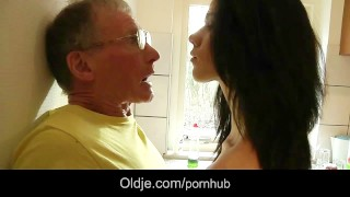 Big old cock deepthroat blowjob and cumshot for a sexy spoiled newbie