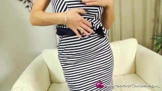 Stacey Poole reveals black lingerie under striped dress