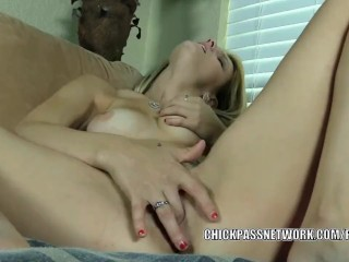 Cute coed Hope Harper is finger fucking her tight pussy