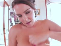 Naturally busty Natasha Nice toys her wet pussy