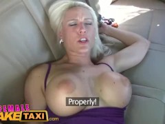 FemaleFakeTaxi Big tits blonde cabbie milf fucks young stud on backseat
