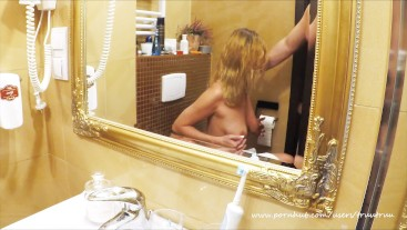 My gorgeous Wife suck me after shower till i cum on her tits (mirror viev)