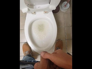 Man peeing standing up...Pov