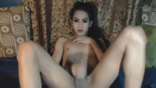 Horny Tranny Jerking Off her Cock Tranny masturbation