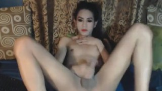 Horny jerking off cock her tranny ass transexual