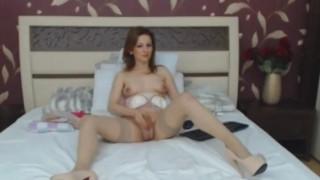 Blonde Tranny Strip and Masturbate her Cock Fuck ass