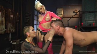 Legendary Femdom Bathroom Domination pegging 3some torment femdom divinebitches kink dominatrix blonde tease tattoo bdsm strap on threesome bondage anal punish natural tits
