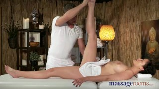 Preview 2 of Massage Rooms Young natural tits brunette has leg shaking orgasm