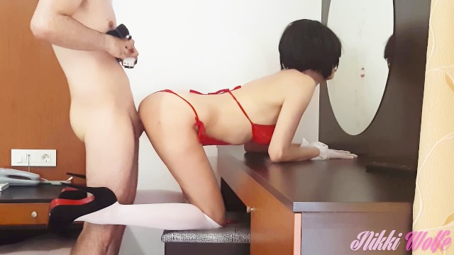Long leg lingerie Hot nikki in ravishing red lingerie and high heels fucked on holidays 2