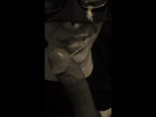 White masked slut take a huge black load all over her face and glases