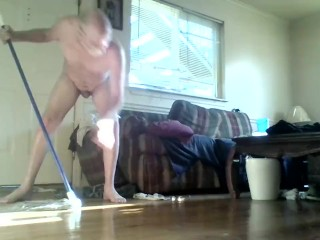 cleaning the piss off the floor