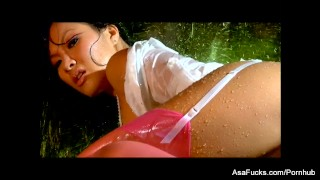 Erotic fucking with a soaking wet Asa Akira  high heels teasing babe tease asian puba cumshot asaakira skinny big dick brunette stockings desk blowjob pornstar tattoo missionary hardcore japanese wet