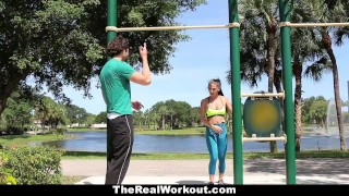 Preview 5 of TheRealWorkout - Workout Babe gets Exposed & Dicked Down