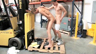 Gay warehouse manager fucks his new employee