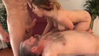 Stella Cox Jerks Her Husband Off While Being Pounded  big cock masturbation cuckold wife husband blonde blowjob bisexual cumeatingcuckolds bull 3some threesome cum eating cum shot