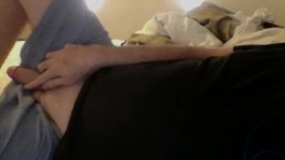 Hung Daddy Jacking Off Big Cock in Bed