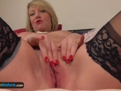 Old mature lady granny Amy solo masturbation horny cougar stockings toy