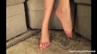 Sexy Capri Cavanni plays with her cute feet Fuck titty
