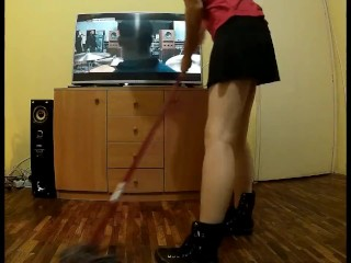 Laura cleans and masturbates with cleaning brush