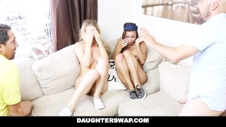 Daughterswap fucked daughters get blindfolded by sneaky dads and latina brunette