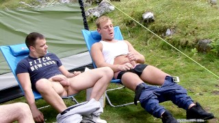 Some friends go camping and cums