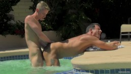 Hot daddy Alex Cox gets fuck in pool by his sexy neighbour Stefan Nash