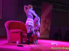 lesbian sex show on public stage