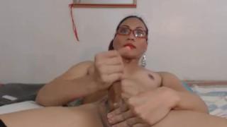 Tranny nerdy releases hot cum hot ladyboy transvestite