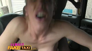 Preview 6 of FemaleFakeTaxi Busty blonde creampied by criminal after blowjob