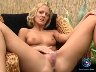 Pussy On Face Porn Short Haired Blonde Christel Dildoing Naked At The Garden, Blonde Masturbation Toys