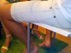 SURPRISE! Sexy Footjob Under The Table