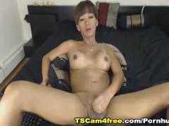 Brunette Shemale Jerks Her Hard Cock