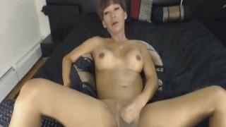 Brunette Shemale Jerks her Hard Cock Toying hot