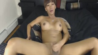 Brunette Shemale Jerks her Hard Cock porno